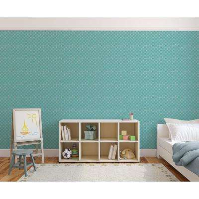 Baby Collection Chess in Teal Removable and Repositionable Wallpaper