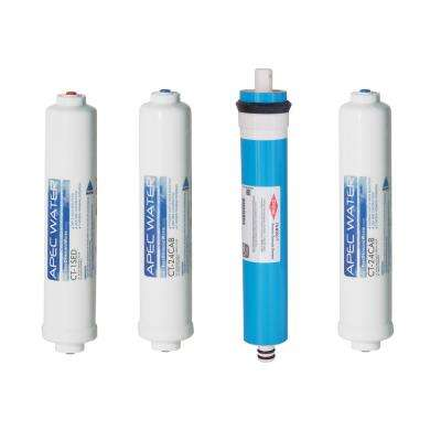Ultimate Quick Connect Complete Replacement Filter Set for RO-QUICK90 Under Counter RO Systems Stage 1-4