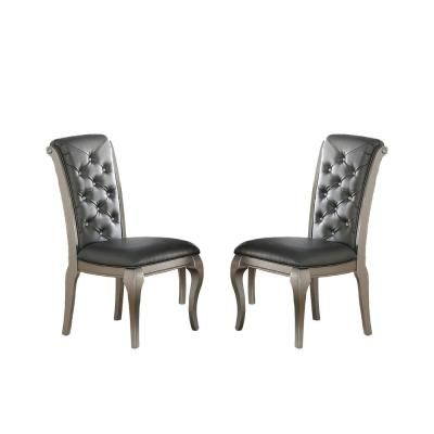 Liboria Solid Wood and Silver Faux Leather Dining Chair (Set of 2)
