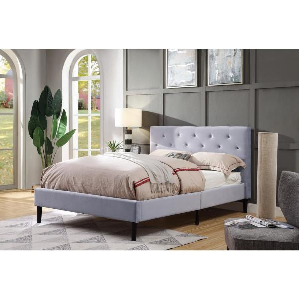 Furniture of America Jukes Light Gray Queen Flannelette Upholstered Bed