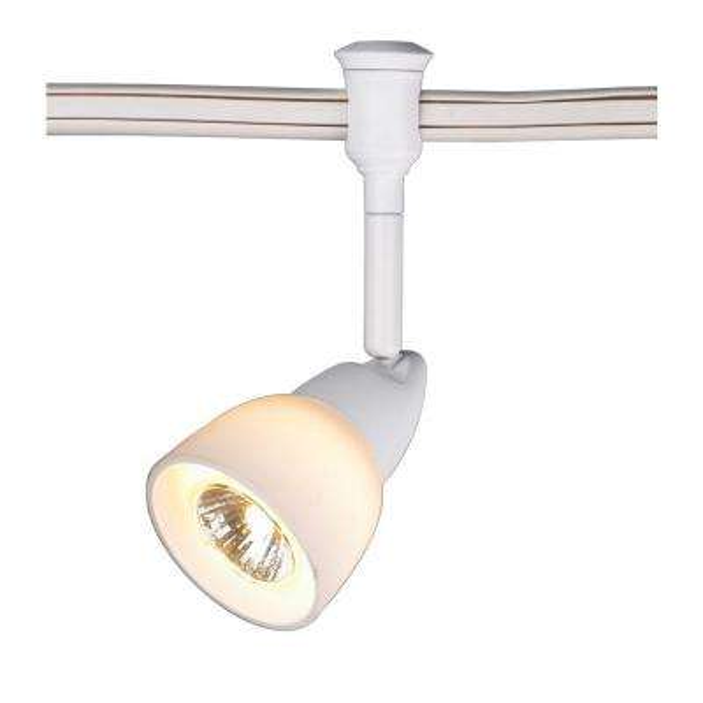 1-Light White Flexible Track Lighting Head with White Glass Shade