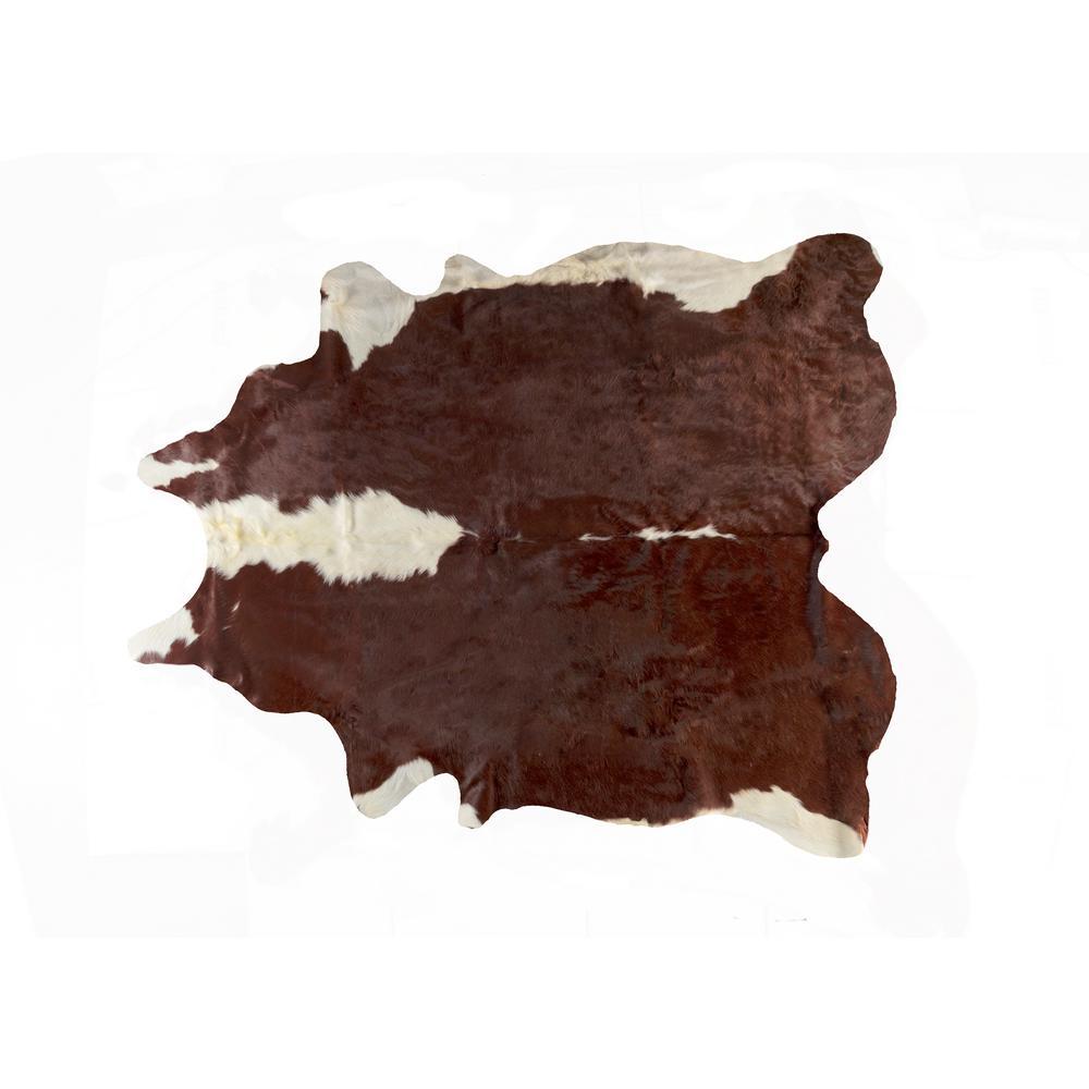 KOBE COWHIDE HEREFORD BROWN/WHITE 6 ft. x 7 ft. AREA RUG