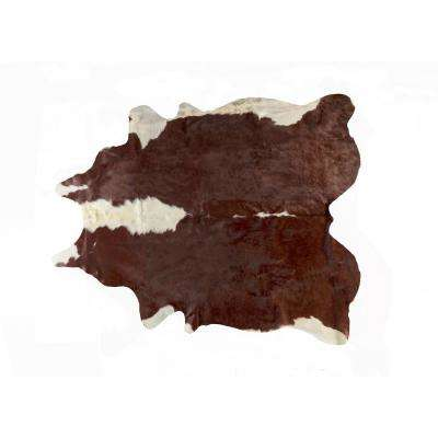 KOBE COWHIDE HEREFORD BROWN/WHITE 6 ft. x 7 ft. AREA RUG