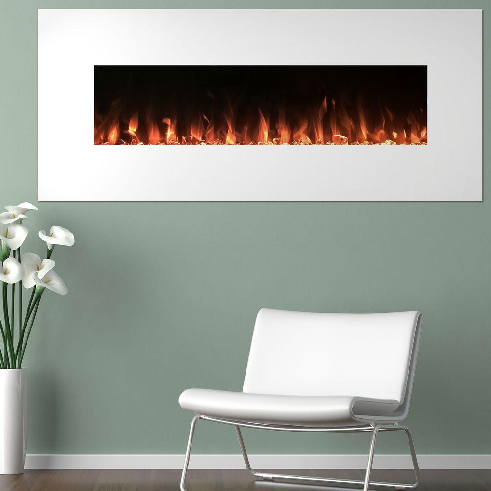 Bring the warmth of a remote controlled electronic fireplace to your home with Northwest Electric Fireplace Color Changing Wall or Floor Stand in White.