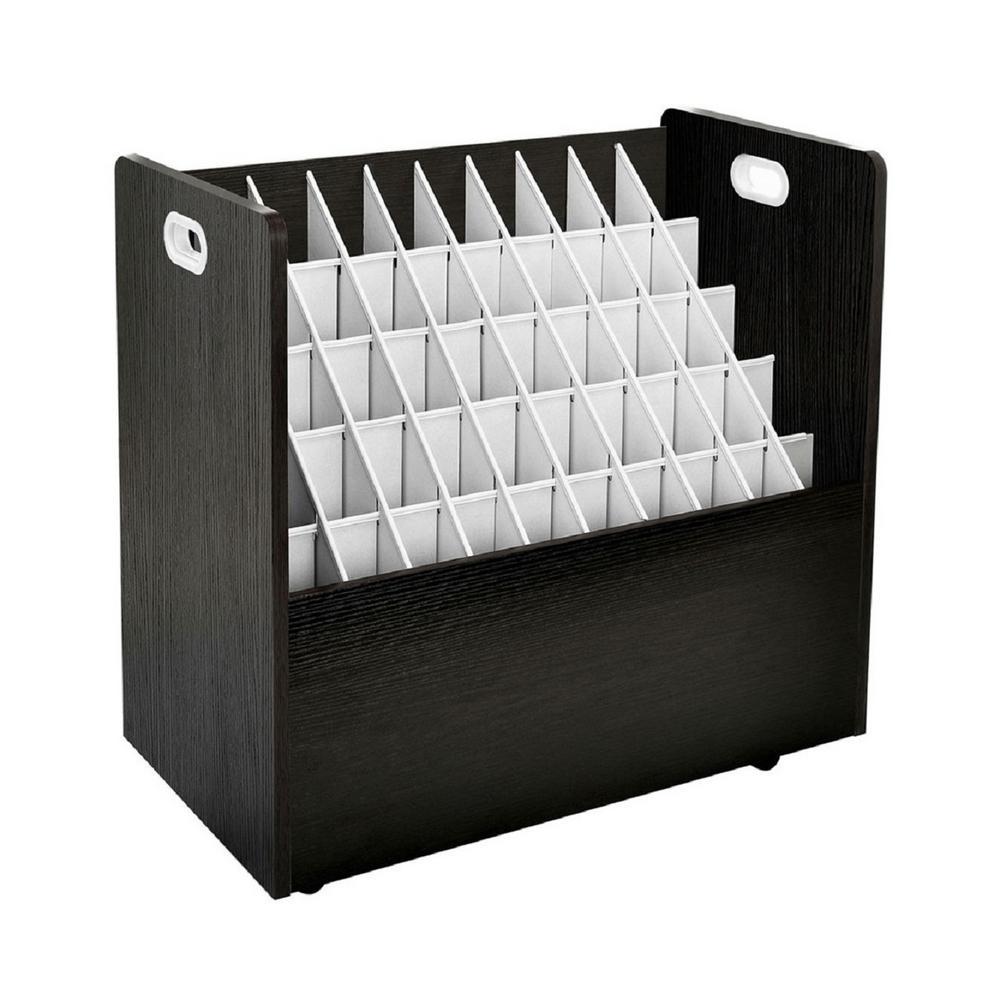AdirOffice 50-Compartment Black Mobile Wood Roll File Storage Organizer