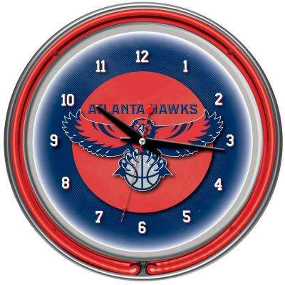 14 in. Atlanta Hawks NBA Chrome Double Ring Neon Wall Clock