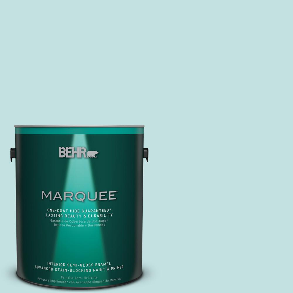 1 gal. #T17-04 Peek a Blue Semi-Gloss Enamel Interior Paint