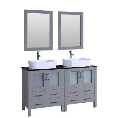 Bosconi 60 in. Double Vanity in Gray with Vanity Top in Black with White Basin and Mirror