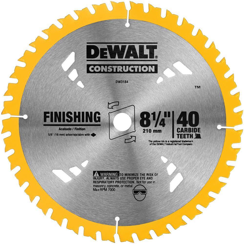 Dewalt 8 1 4 In 40t Carbide Thin Kerf Circular Saw Blade