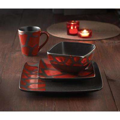 16-Piece Safari Giraffe Red Dinnerware Set