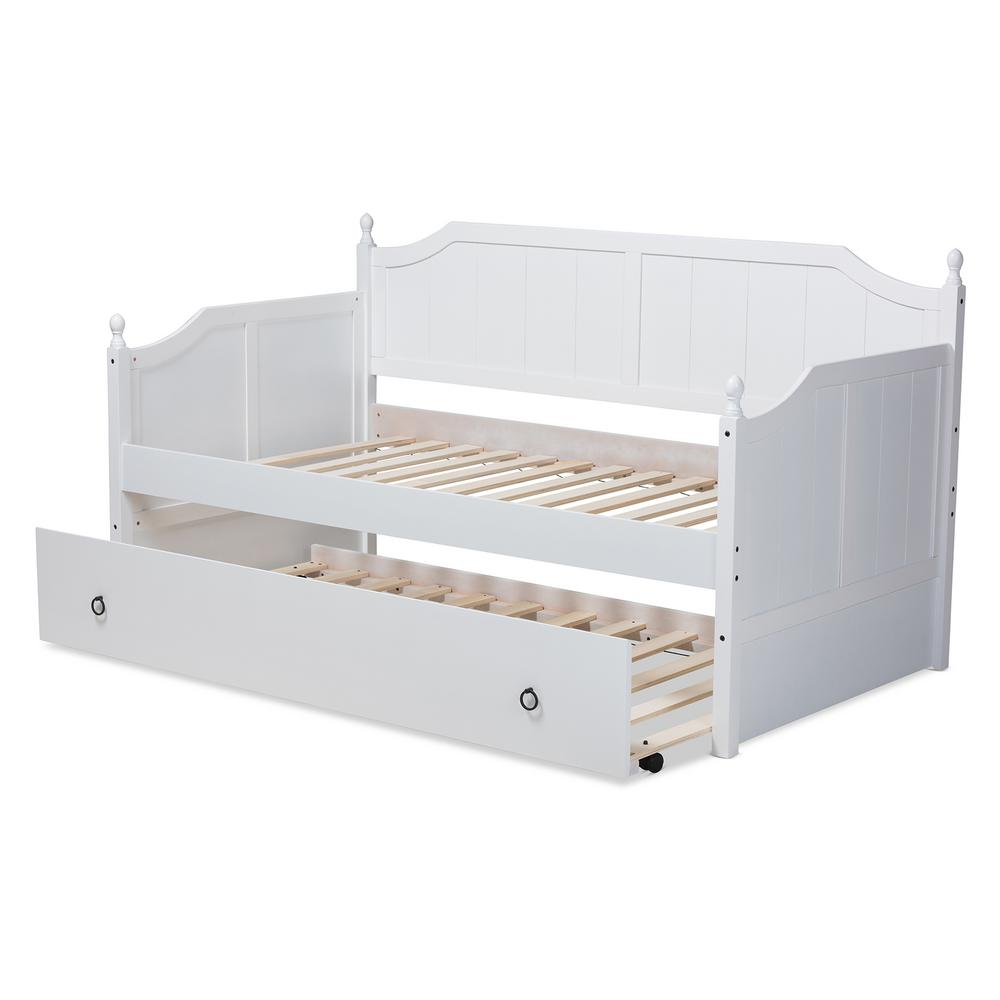 - Baxton Studio Millie White Twin Daybed With Trundle 157-9624-HD