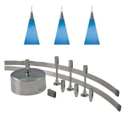 96 in. Low-Voltage 150-Watt Monorail Kit with 3 Blue Pendants