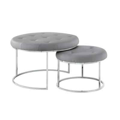Draven Nesting Ottoman Grey/Chrome PU Leather Button Tufted Metal Frame (Set of 2)