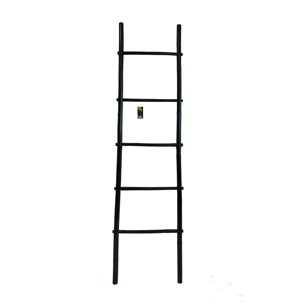 MGP 21 in. W x 72 in. H 5-Shelf Stained Bamboo Ladder Towel Rack in ...