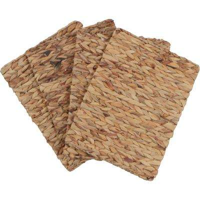 16 in. x 12 in. Tan Rectangular Woven Indoor or Outdoor Placemats of Natural Water Hyacinth (Set of 4)