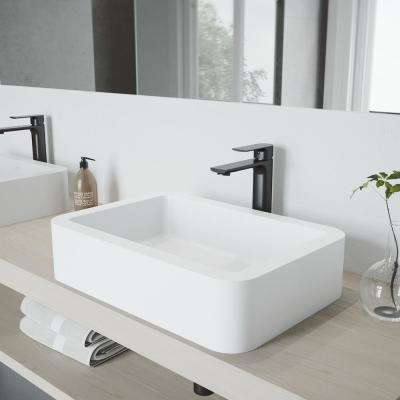 Petunia Vessel Sink in White Matte Stone with Norfolk Faucet in Matte Black and Pop-Up Drain Included