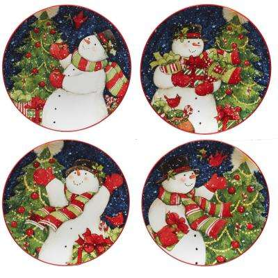 Starry Night Snowman by Susan Winget 9 in. Dessert Plate (Set of 4)