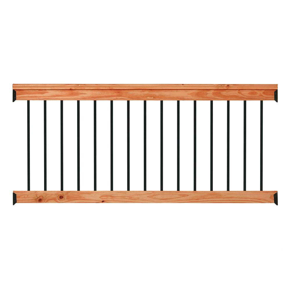 6 ft. Redwood Deck Rail Kit with Black Aluminum Balusters