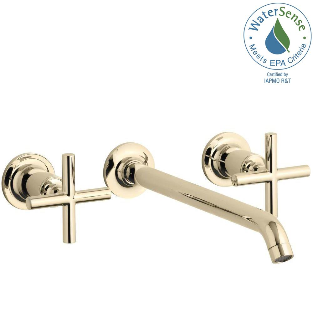 KOHLER Purist Wall-Mount 2-Handle Bathroom Faucet Trim Kit in Vibrant French Gold