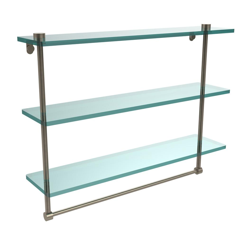 Allied Brass 22 In L X 18 In H X 5 In W 3 Tier Clear Glass Bathroom Shelf With Towel Bar In Antique Pewter Ns 5 22tb Pew The Home Depot