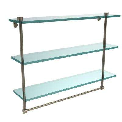 22 in. L  x 18 in. H  x 5 in. W 3-Tier Clear Glass Bathroom Shelf with Towel Bar in Antique Pewter