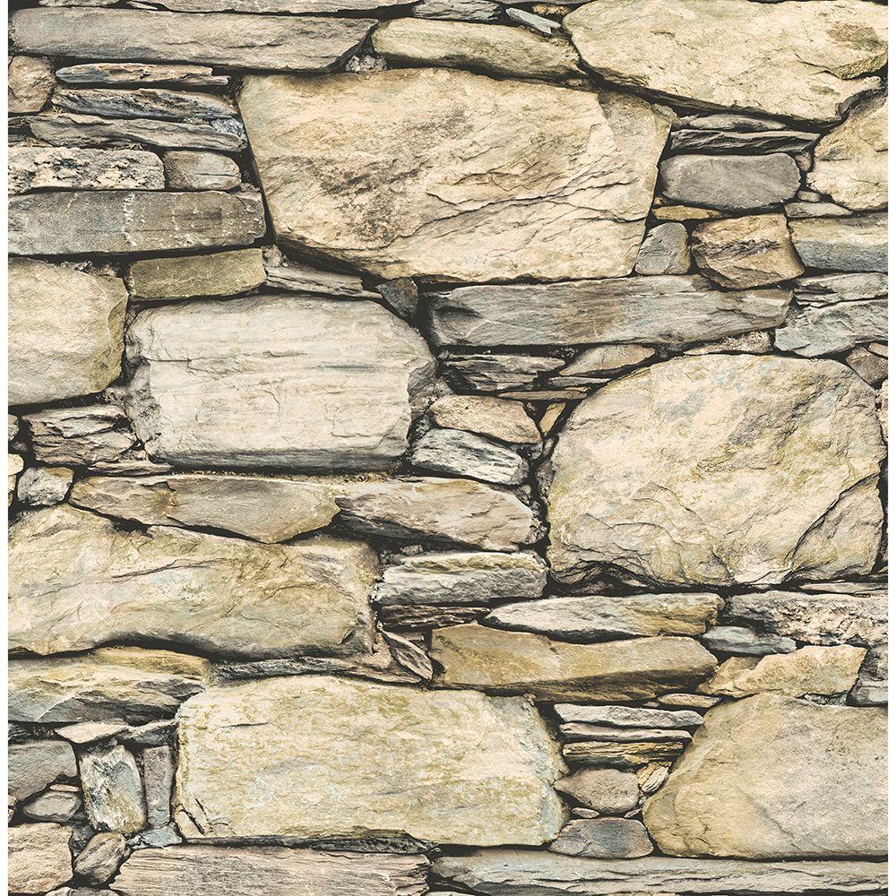 56.4  sq. ft. Cesar Beige Stone Wall Wallpaper