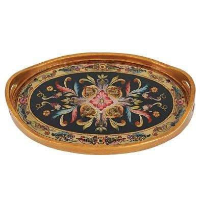 24 in. x 16 in. Gemstone Black Oval Tray