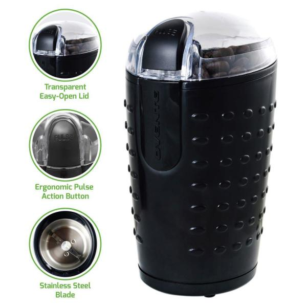 2.5 oz. Black (CG225B) One-Touch Electric Coffee Grinder and Other Spices-Seeds, Nuts, Grains-Stainless Steel Blades