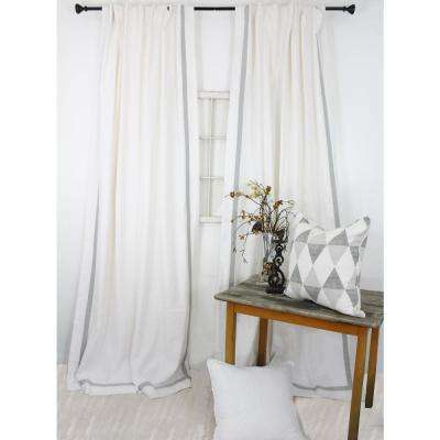 84 In L White With Mist Grey Trimmed Curtain Panel