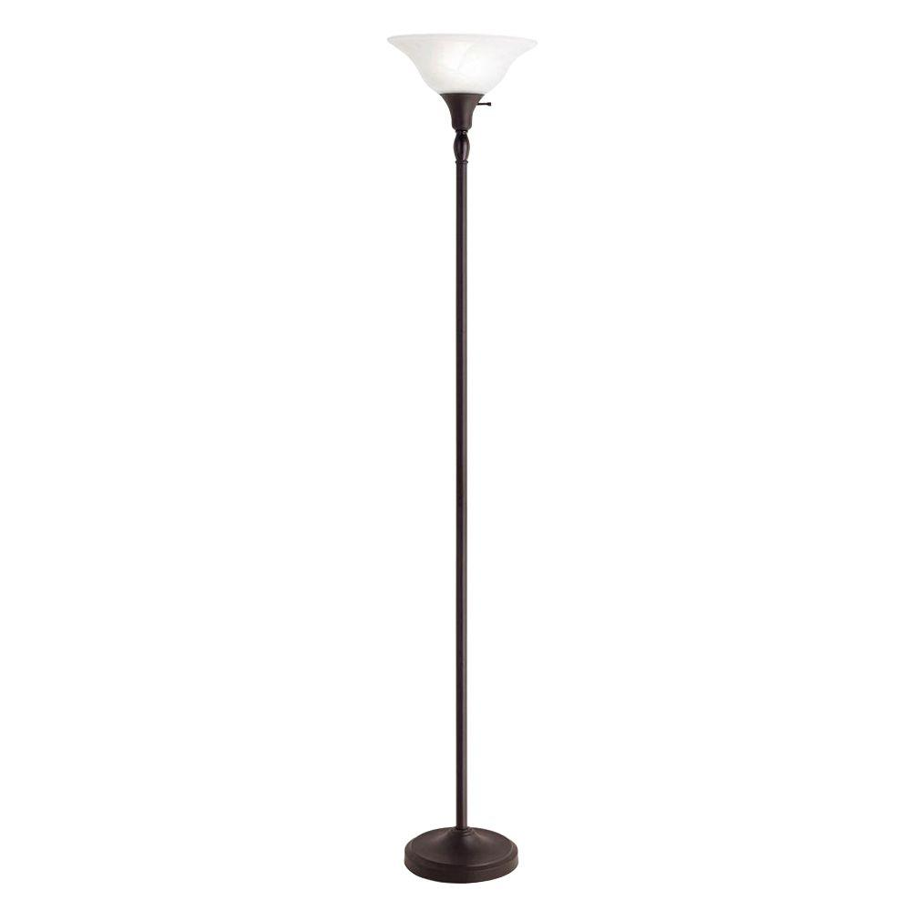 Hampton Bay 72 in. Bronze Torchiere Floor Lamp with Frosted Glass Shade