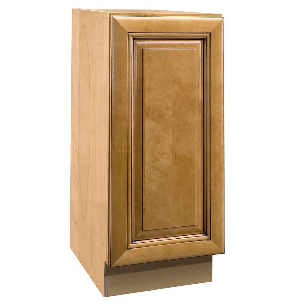 Home Decorators Collection Lewiston Assembled 12x34.5x24 in. Single Door Hinge Left Base Kitchen Cabinet in Toffee Glaze