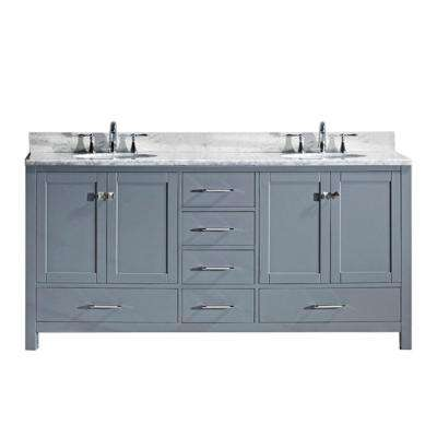 Caroline Avenue 72 in. W x 22 in. D Double Vanity in Gray with Marble Vanity Top in White with White Basin