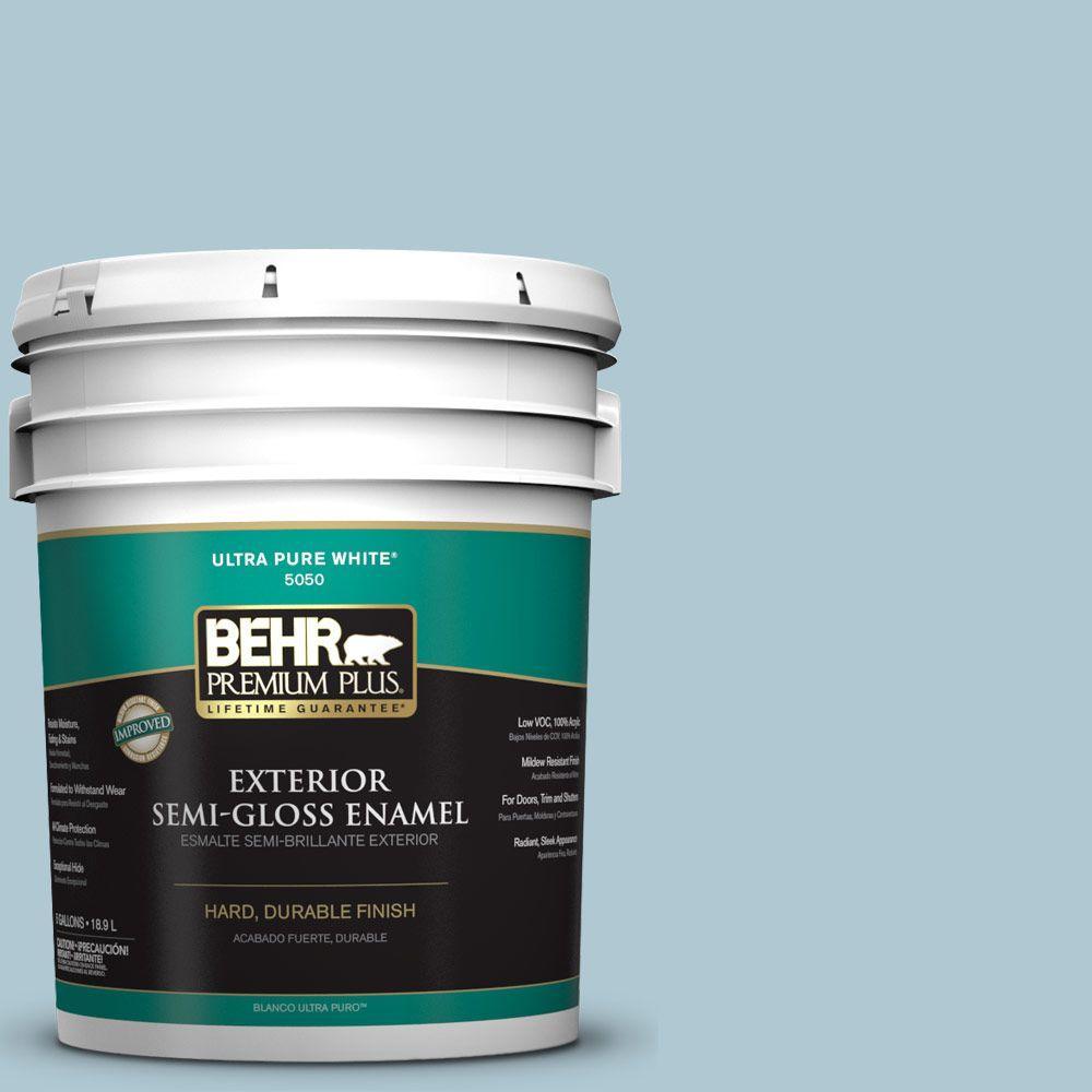 BEHR Premium Plus 5-gal. #S470-2 Gentle Sea Semi-Gloss Enamel Exterior Paint