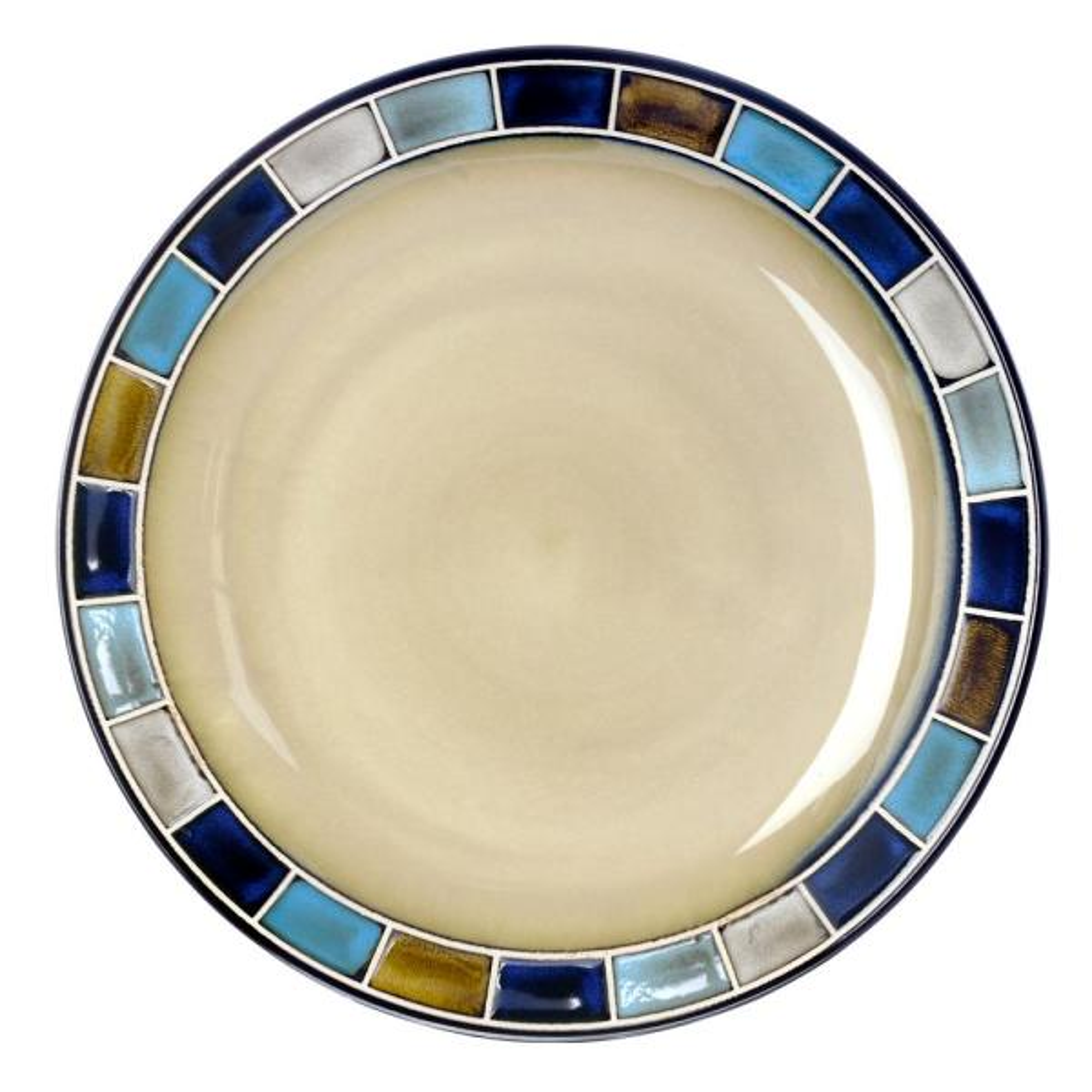 16 Piece Reactive Glaze Dinnerware Set Cream and Blue