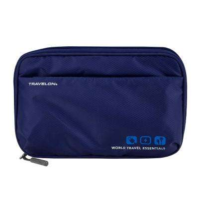 World Travel Essentials Lush Blue Tech Accessory Organizer