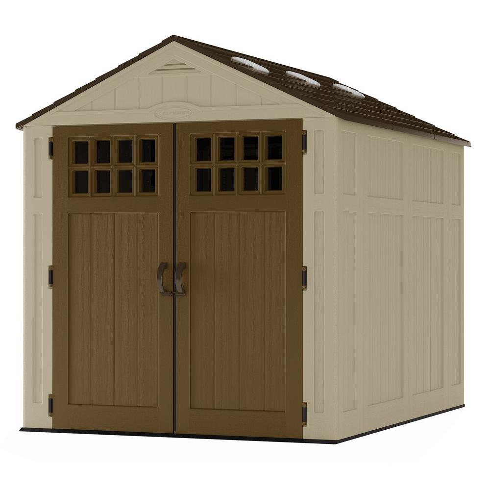 suncast everett 6 ft 275 in x 8 ft 175 in resin storage shed bms6810d the home depot