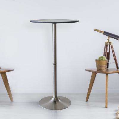 Vintage Style 24 in. Round Steel Bar Table in Stainless Steel