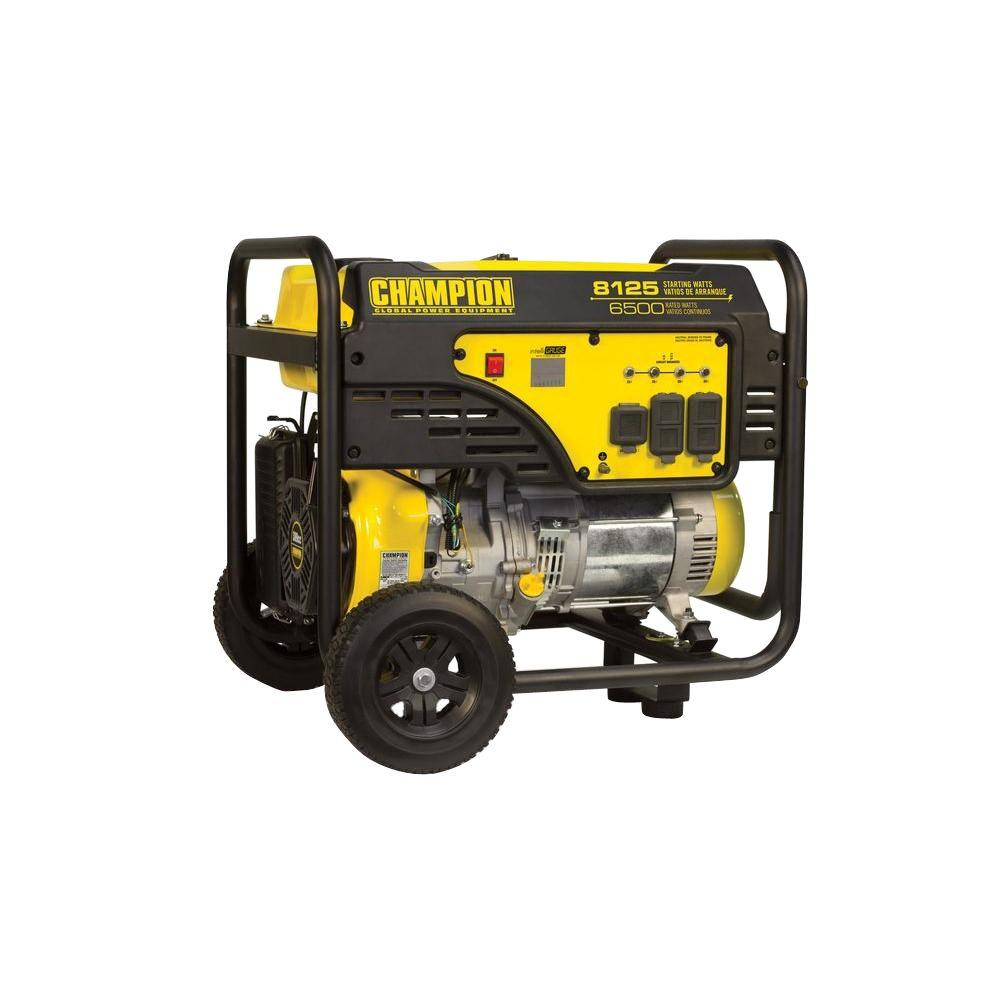 Champion Power Equipment 6500-Watt Gasoline Powered Manual Start Portable  Generator with 389 cc OHV Engine and Wheel Kit