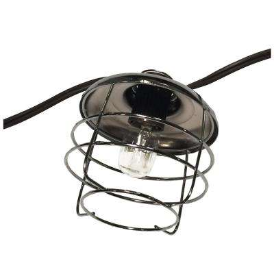 1-Light 126 in. Polished Chrome String Lights with Mini Cages