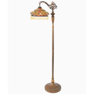 60 in. H Multi-Colored Stained Glass Side Arm Floor Lamp with Parisian Shade