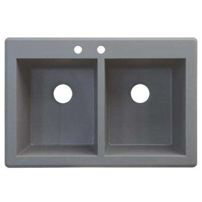 Radius Drop-in Granite 33 in. 2-Hole Equal Double Bowl Kitchen Sink in Grey