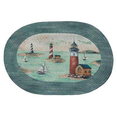 Hamptons Teal 2 ft. x 3 ft. Braided Area Rug