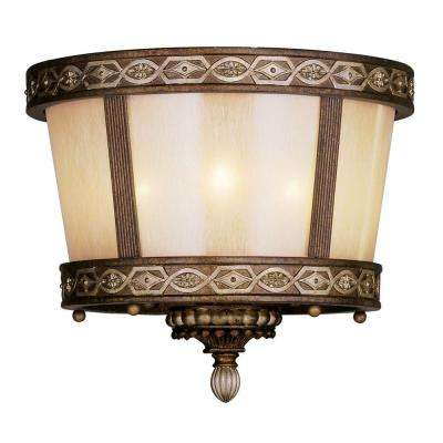 Providence 3 Light Palacial Bronze with Gilded Accents Incandescent Flushmount
