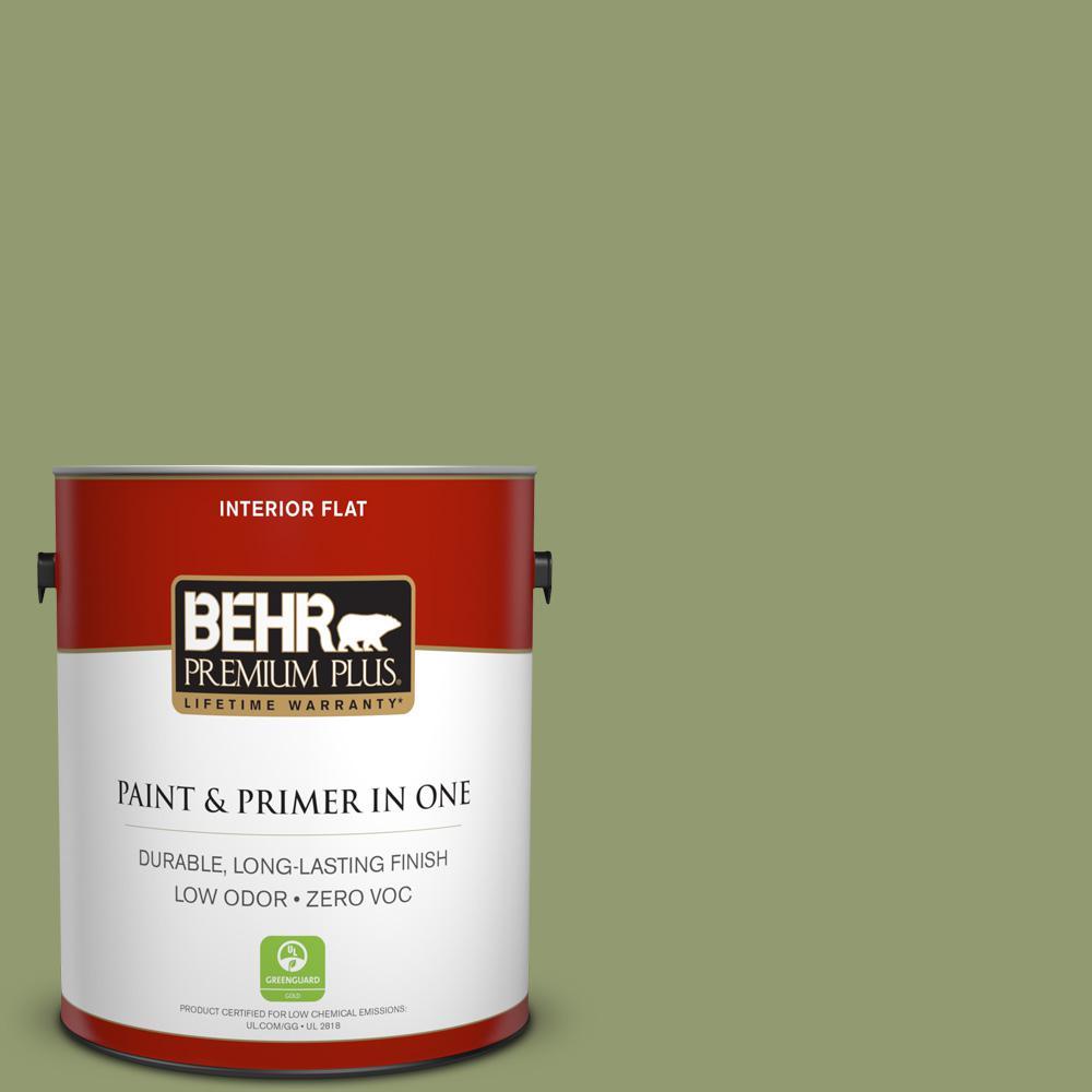 1 gal. #PPU11-04 Alamosa Green Zero VOC Flat Interior Paint