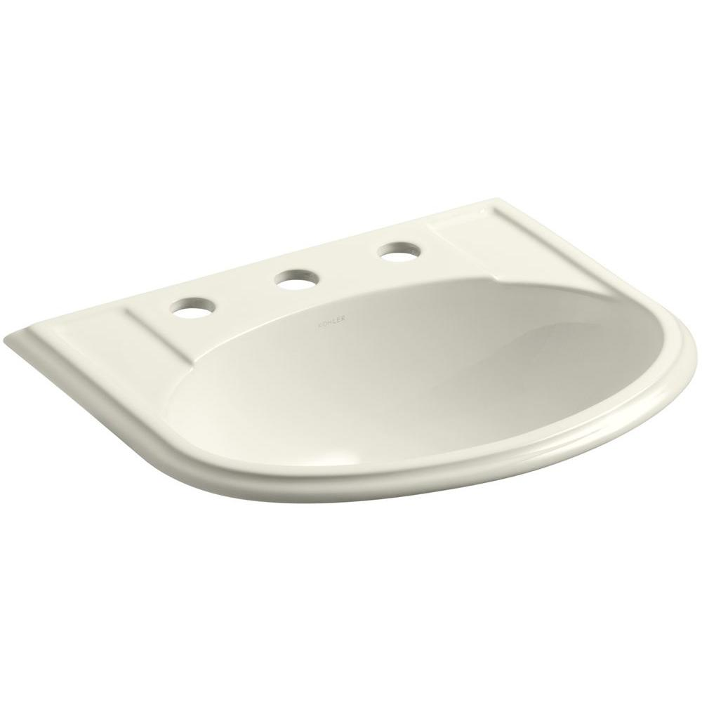 Devonshire Drop-In Vitreous China Bathroom Sink in Biscuit with Overflow Drain