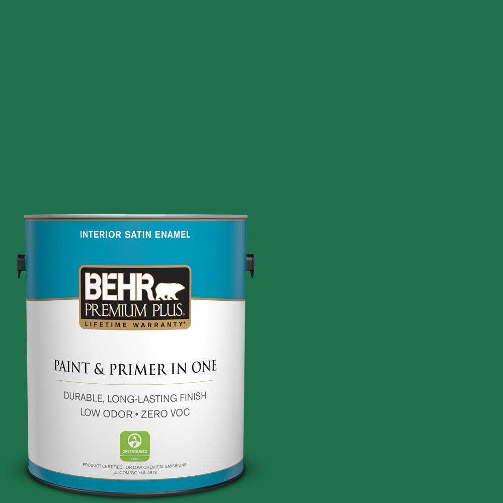 BEHR Premium Plus 1 gal. #470B-7 Climbing Ivy Satin Enamel Zero VOC Interior Paint and Primer in One