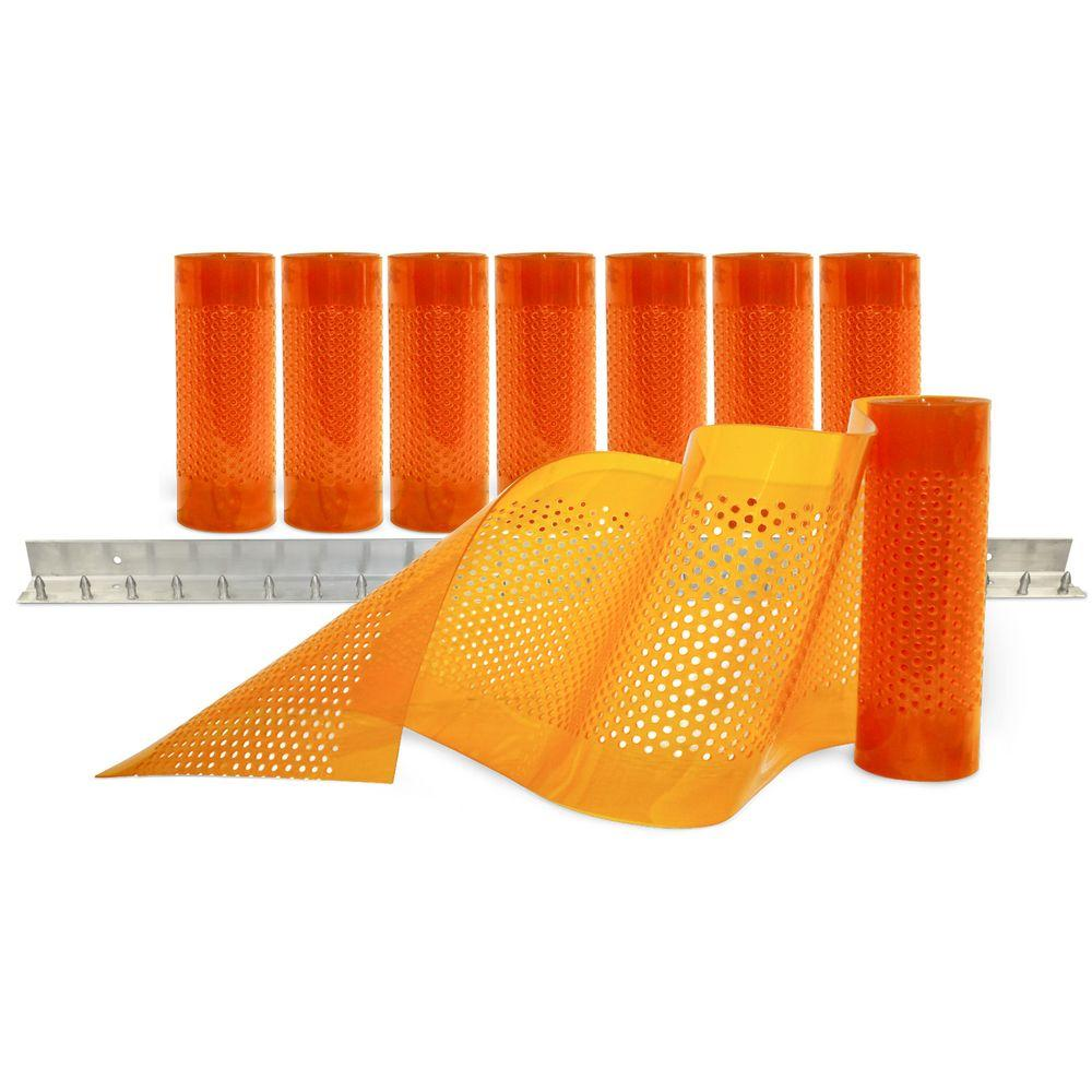Aleco AirStream Insect Barrier 4 ft. x 8 ft. Amber PVC Strip Door Kit