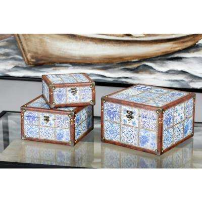 Rectangular Wood Lattice-Patterned Boxes with Lid (Set of 3)