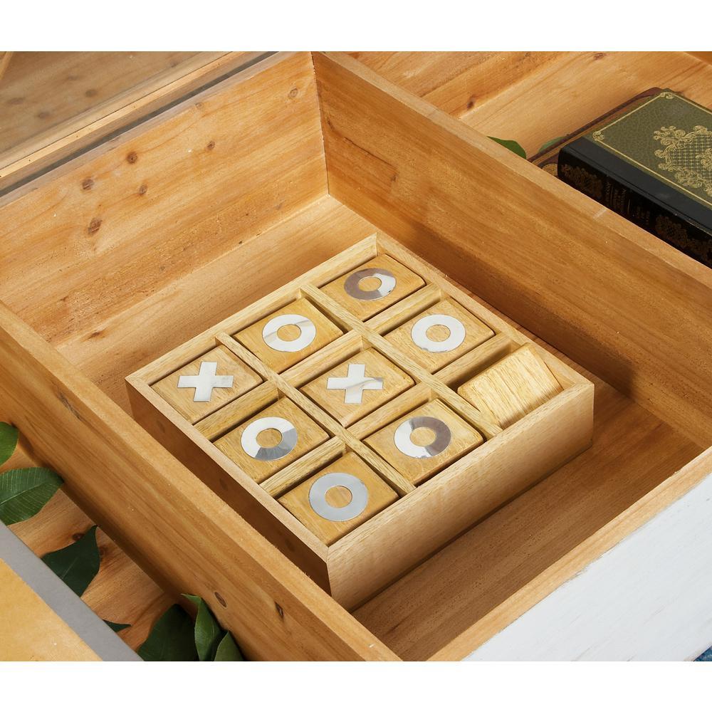 Light Brown Wood and Aluminum Tic Tac Toe Set