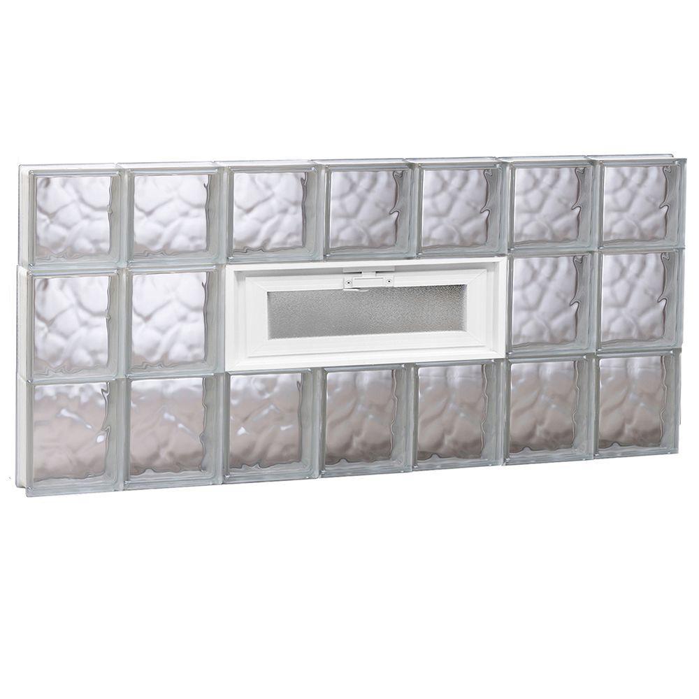 40.125 in. x 21.25 in. x 3.125 in. Wave Pattern Vented Glass Block Window